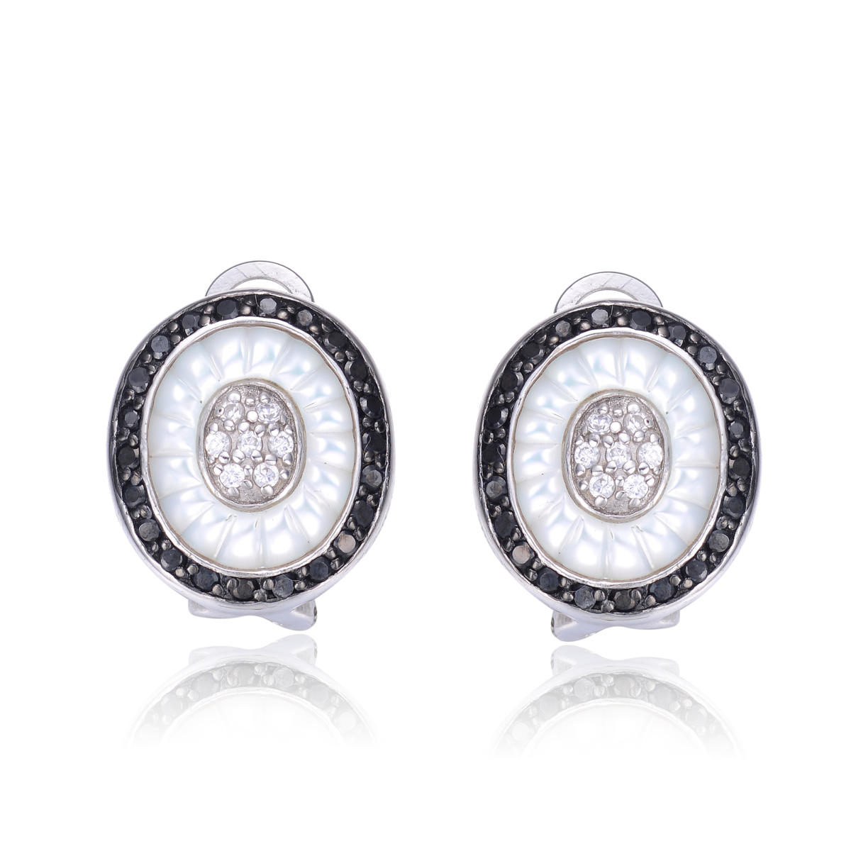 Flawless Cubic Sterling Silver Mother Of Pearl And Black Zirconia Earrings