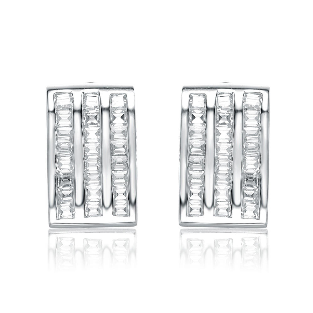 Flawless Cubic Platinum Over Sterling Silver Baguette Cut Zirconia Earrings